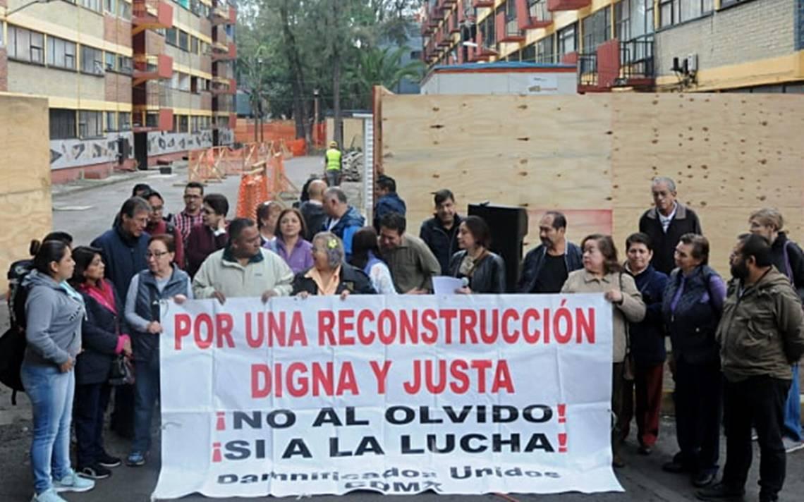 Damnificados exigen a Sheinbaum agendar fecha para diálogo en Multifamiliar Tlalpan