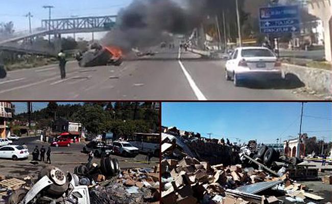 Volcadura de tráiler deja 1 muerto y 14 heridos en Toluca