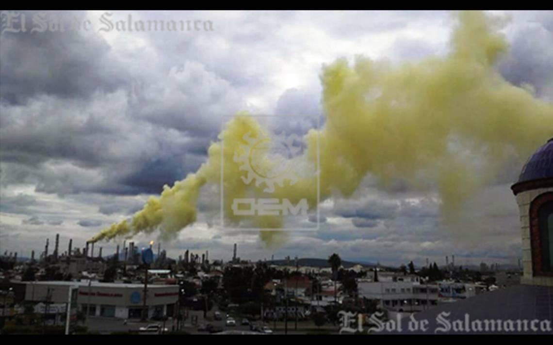 Nube amarilla en refinería de Pemex afecta a ciudadanos de Salamanca