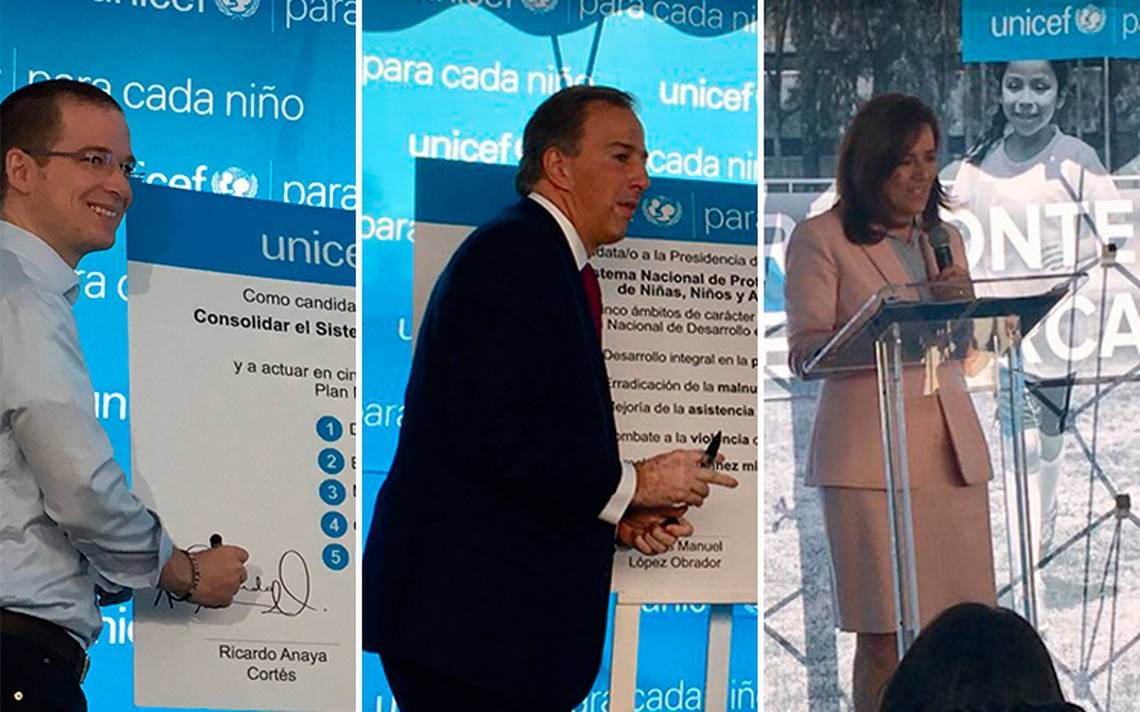 Candidatos presidenciales firman compromiso con Unicef para proteger a la niñez