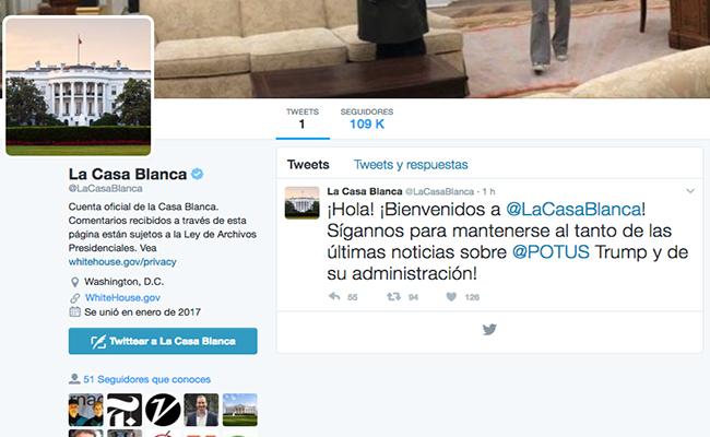 La Casa Blanca retoma su cuenta de Twitter en español