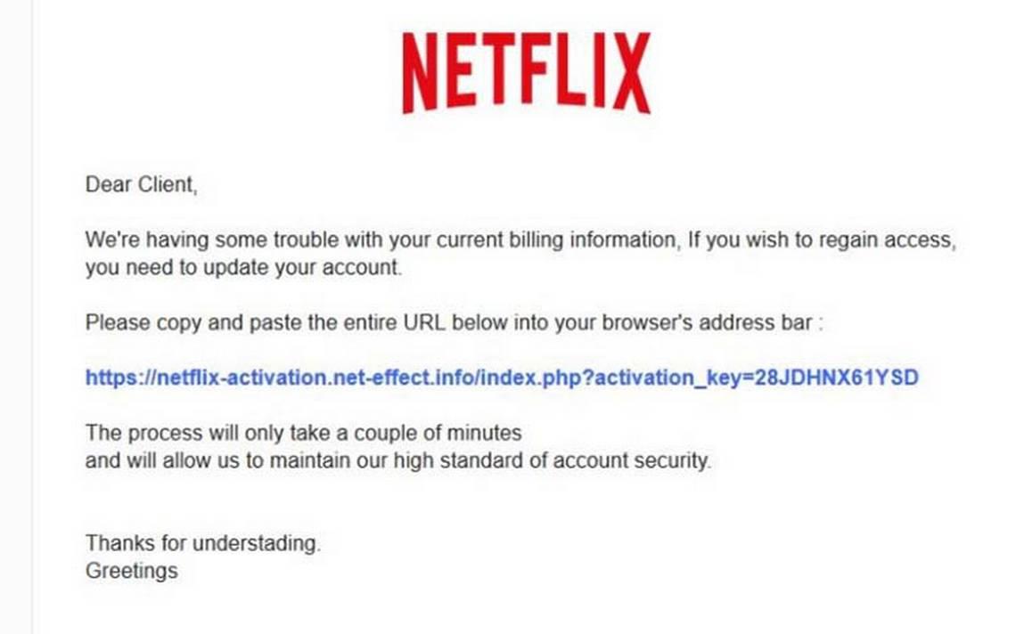 ¿Te llegó un mail para actualizar el pago de Netflix? no lo abras, es una estafa