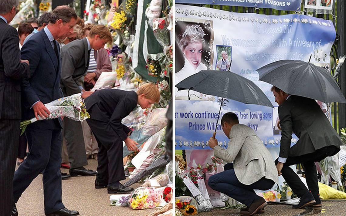 Príncipes Guillermo y Enrique rinden tributo a Lady Di, a 20 años de su muerte