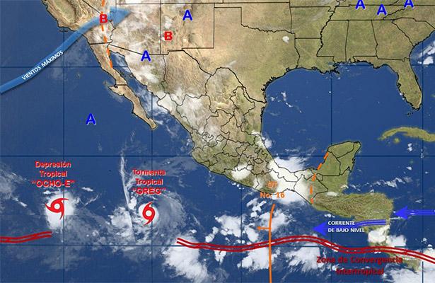 Depresión tropical 8-E se aleja de costas mexicanas; se dirige hacia el oeste
