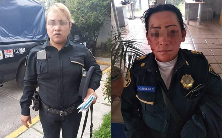 Se agarran a golpes dos mujeres policías en Coyoacán