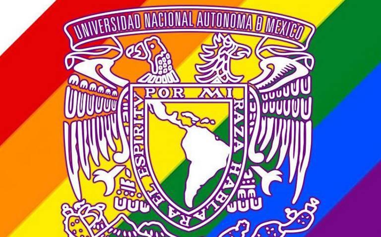 UNAM pinta su escudo de colores de la bandera LGBTTTI