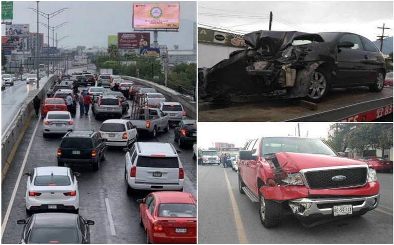 Lluvia provoca carambola de 25 autos en Monterrey