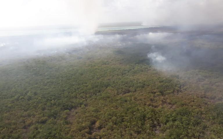 Continúan esfuerzos para sofocar incendios en reserva Sian Ka´an