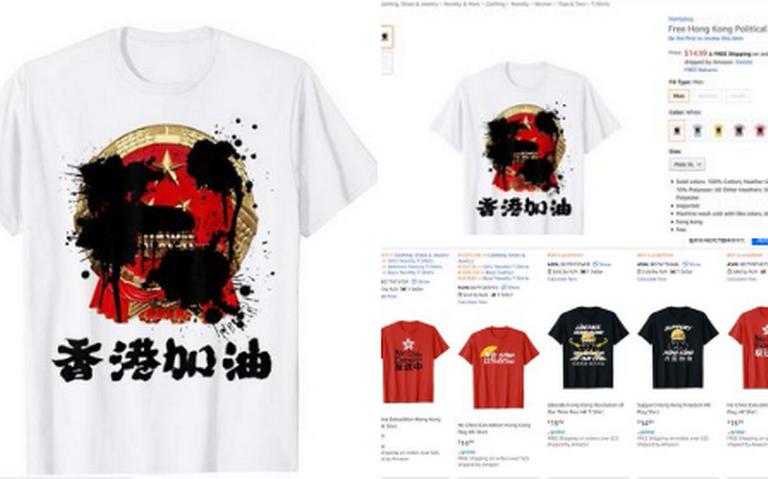 "Amazon en ""aprietos"" por playeras con eslogan a favor de manifestaciones de Hong Kong"