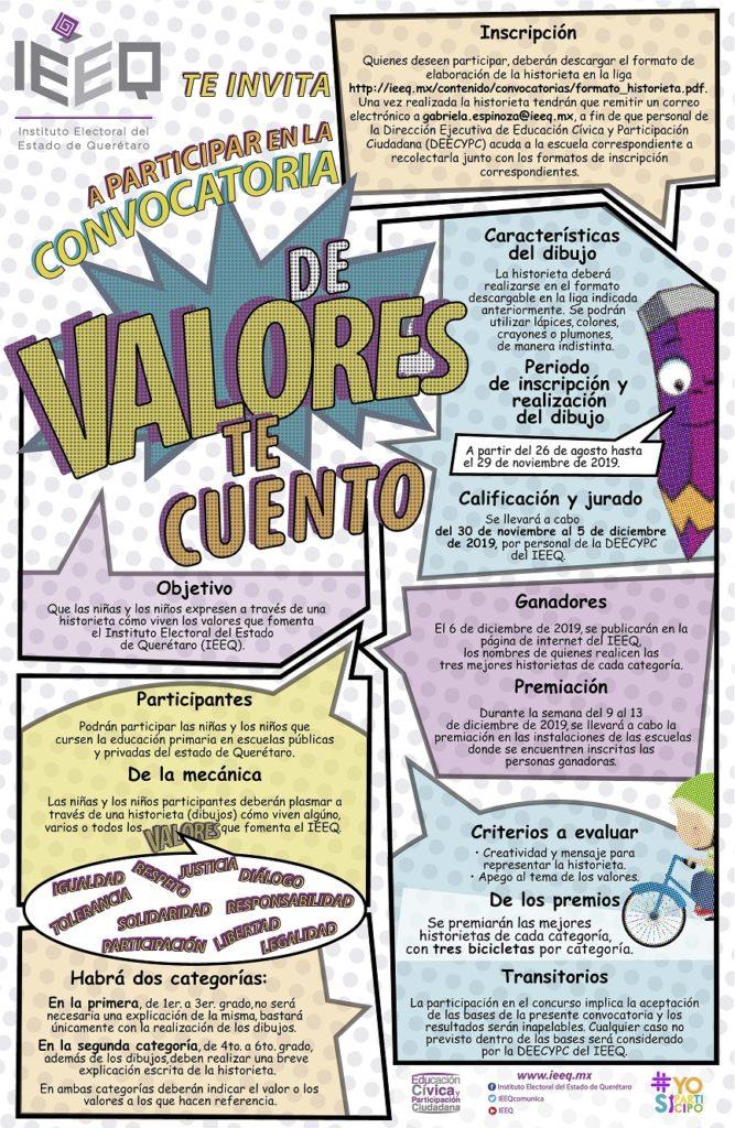 Convoca IEEQ al Concurso «De valores te cuento»