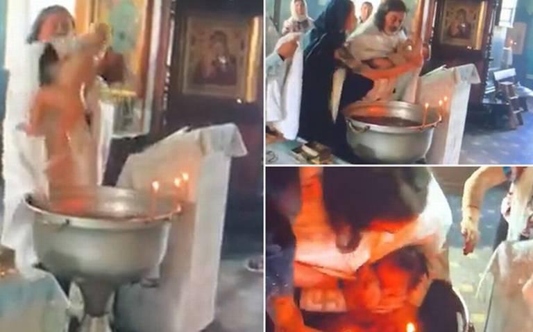 [Video] Sacerdote ruso lesiona a niño durante bautizo