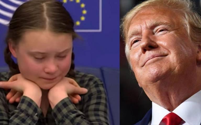 """""""Parece que es una niña muy feliz"""", Trump se burla de Greta Thunberg"""