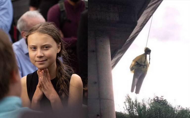 Al estilo narco, cuelgan muñeco de Greta Thunberg en un puente de Roma