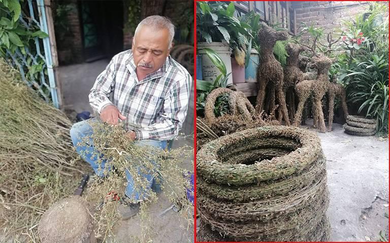 Álvaro, el artesano guanajuatense que convierte la hierba en Navidad
