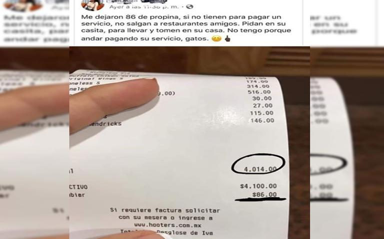 Cuenta de 4 mil pesos con menos de 100 de propina, causa enojo de mesera y polémica en redes