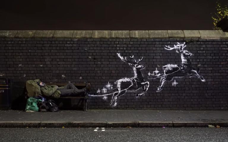 Reaparece Banksy para denunciar la situación de los sintecho en Navidad