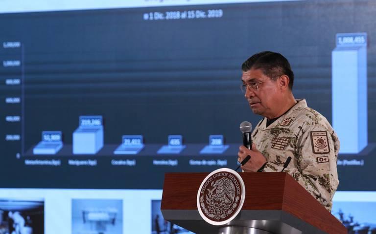 Incautó Sedena más de 34 mil mdp en drogas al narcotráfico