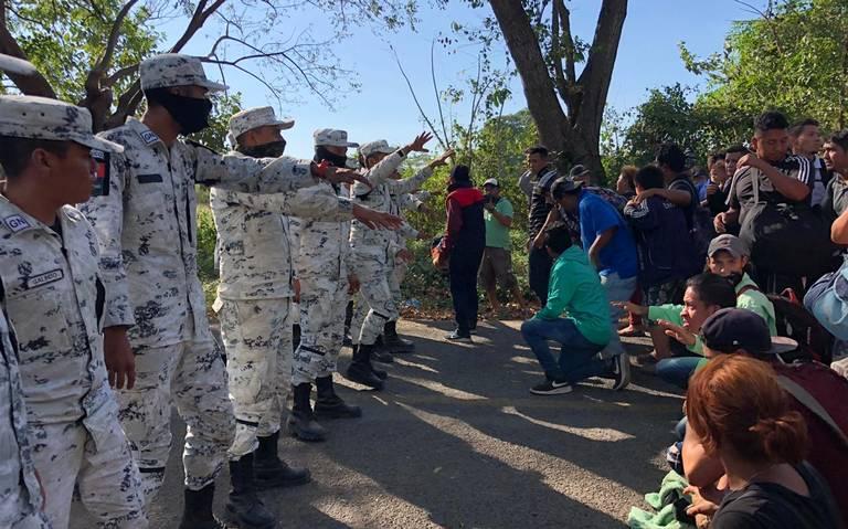Guardia Nacional detiene caravana de migrantes