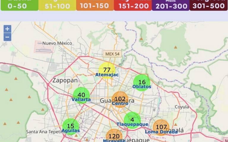 Llega a 120 IMECAS la contaminación del aire en la ZMG