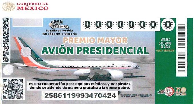 """Presenta AMLO diseño del """"cachito"""" para la rifa del avión presidencial"""