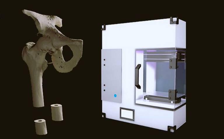 Estudiante de la UNAM crea impresora de huesos con material biodegradable