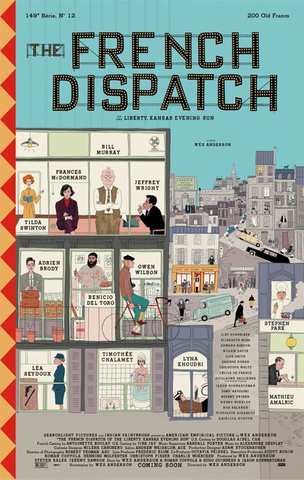 "El primer vistazo de ""French dispatch"" la nueva película de Wes Anderson"
