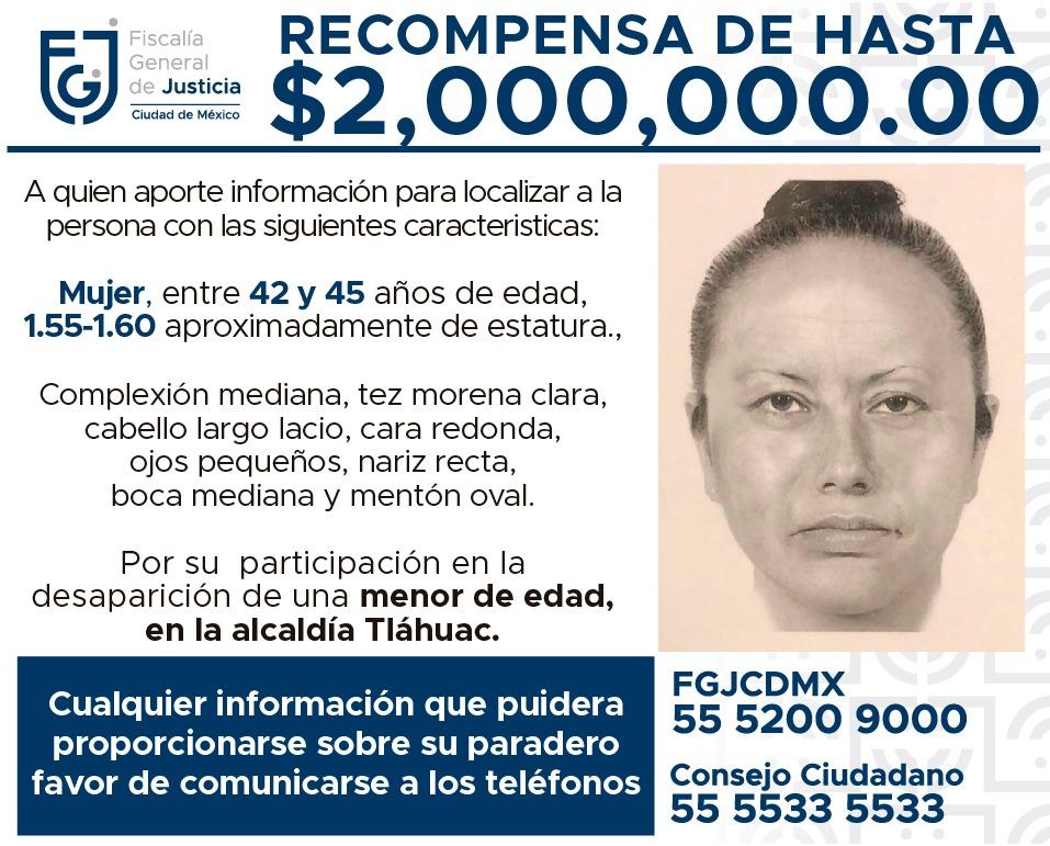 Fiscalía da a conocer retrato hablado de mujer que se llevó a Fátima