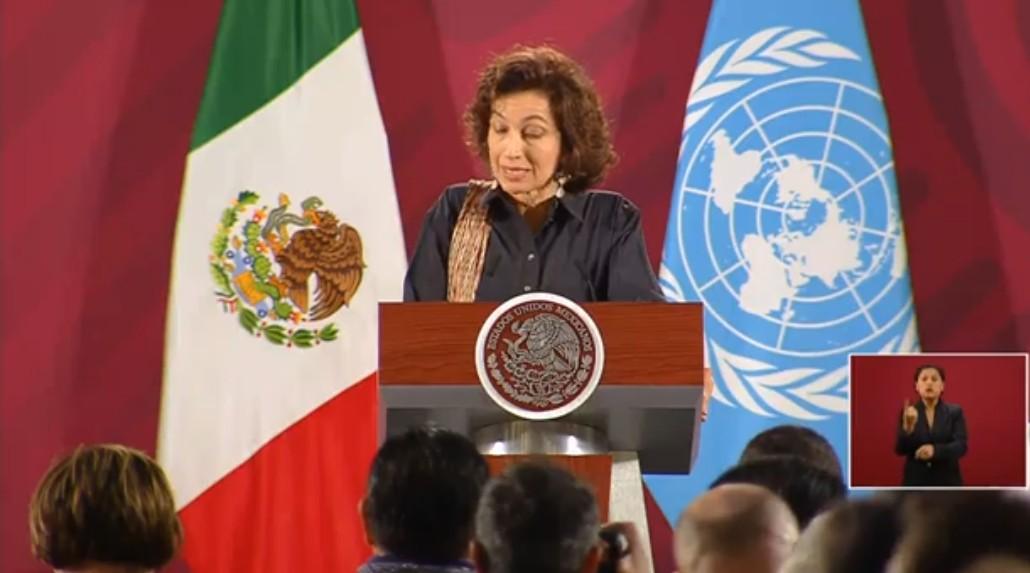Audrey Azoulay, directora general de la UNESCO habla de igualdad de género en la mañanera