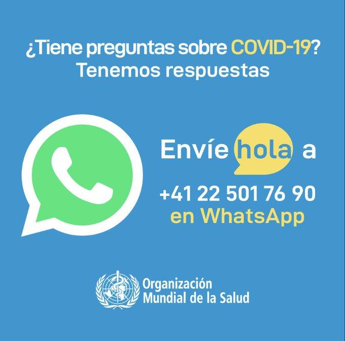 ¿Tienes preguntas sobre el COVID-19? La OMS  te responde por WhatsApp