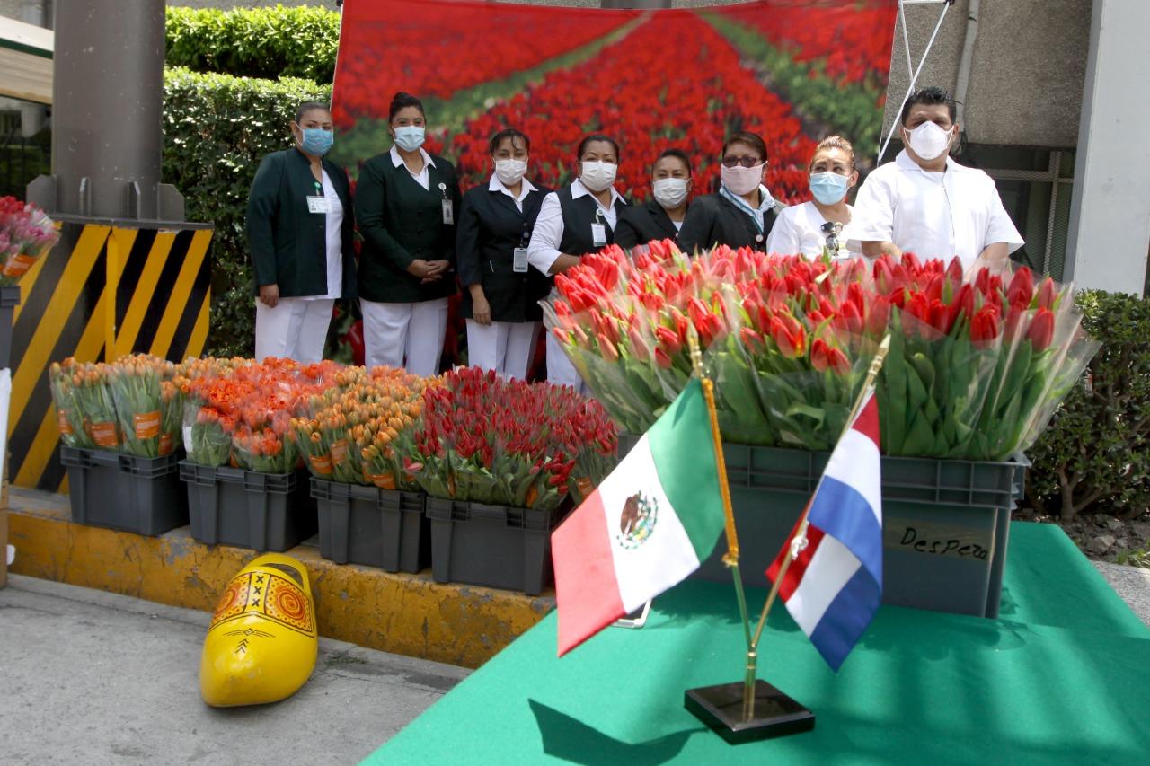 Embajada de los Países Bajos entrega tulipanes a personal médico del IMSS que atiende COVID-19