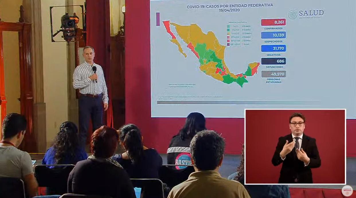 México registra 686 defunciones por COVID-19, 8 mil 261 casos confirmados: SSA