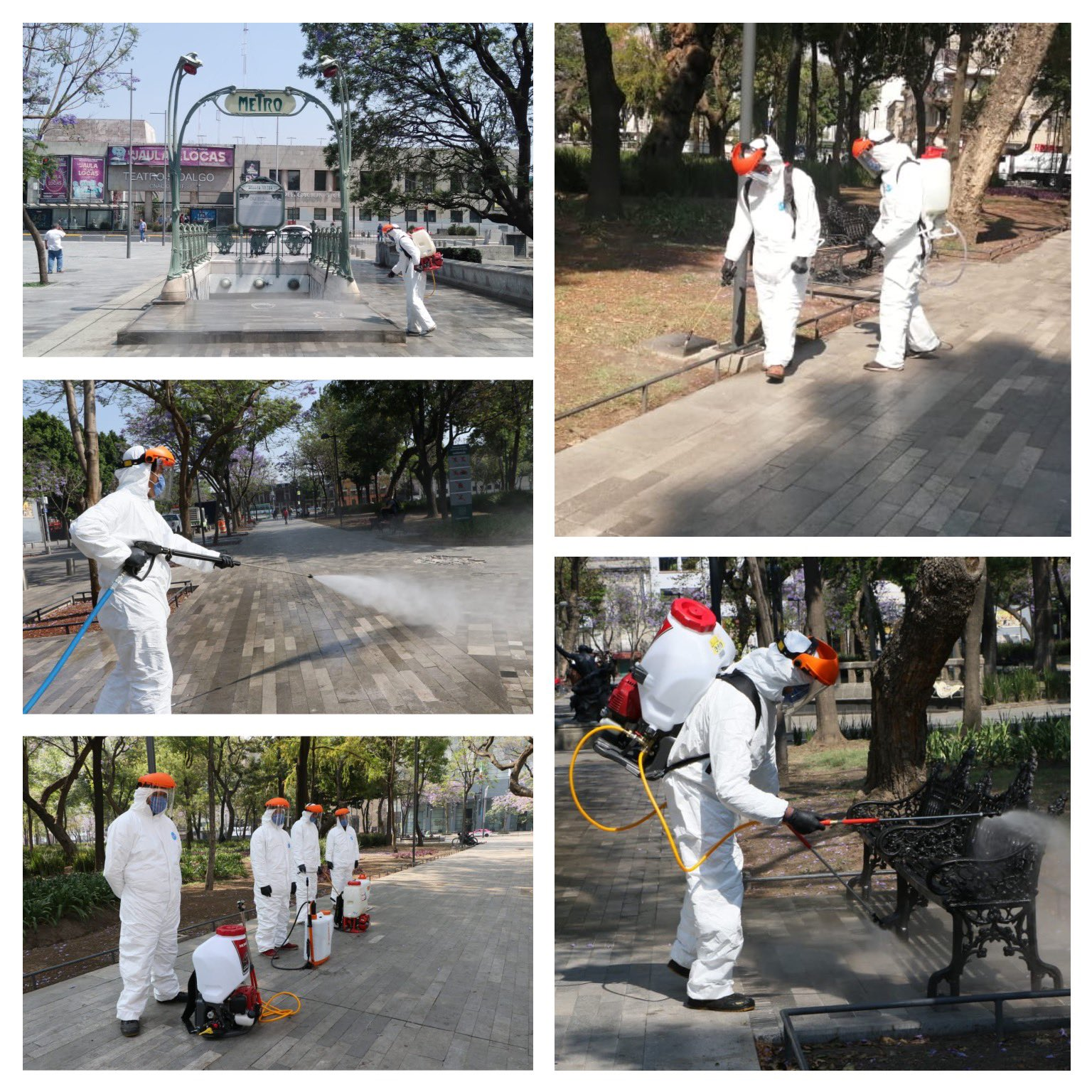 Realizan labores de sanitización en Alameda Central por COVID-19