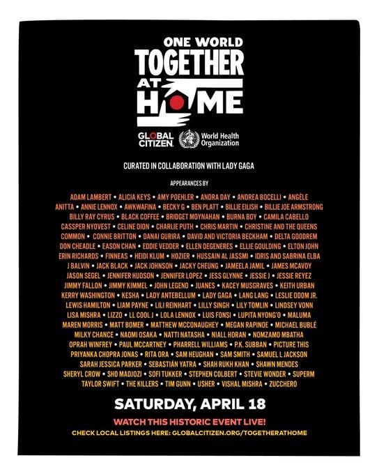 """Artistas de todo el mundo se unen en """"One World, Together at Home"""", te decimos dónde y a que hora ver el concierto en México."""