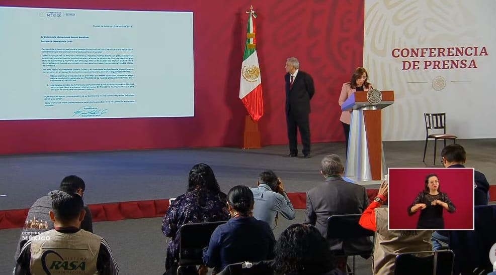 El presidente da a conocer carta de acuerdo con la OPEP