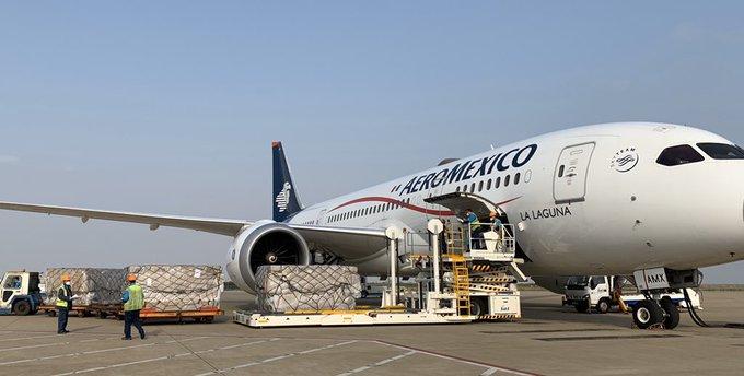 Llega Sexto avión con insumos médicos de China