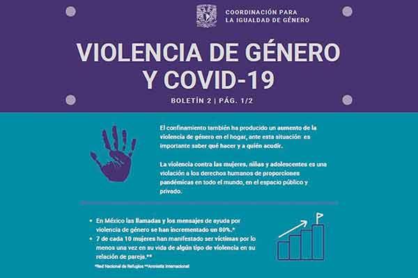 Emite la UNAM recomendaciones contra la violencia de género durante confinamiento