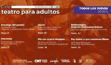 Coordinación Nacional de Teatro presenta Ciclo de Teatro para Adultos