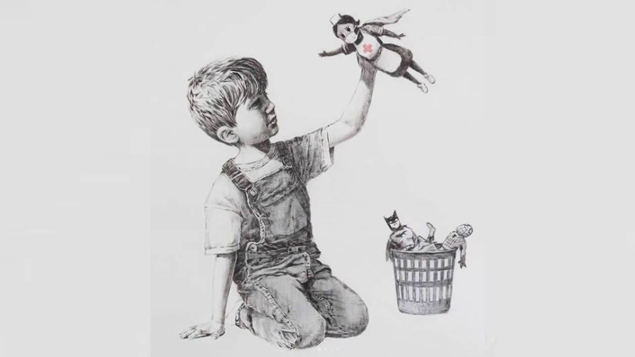 Banksy rinde homenaje a personal médico en su lucha contra el COVID-19
