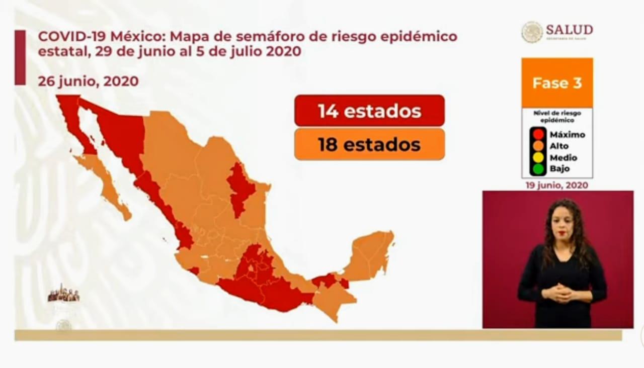 18 estados estarán en color naranja y 14 en rojo en el semáforo epidemiológico de esta semana
