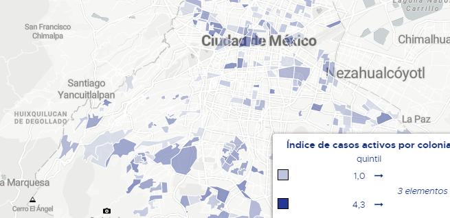 Ahora pueden consultarse los casos activos de COVID19, por colonia en la Ciudad de México