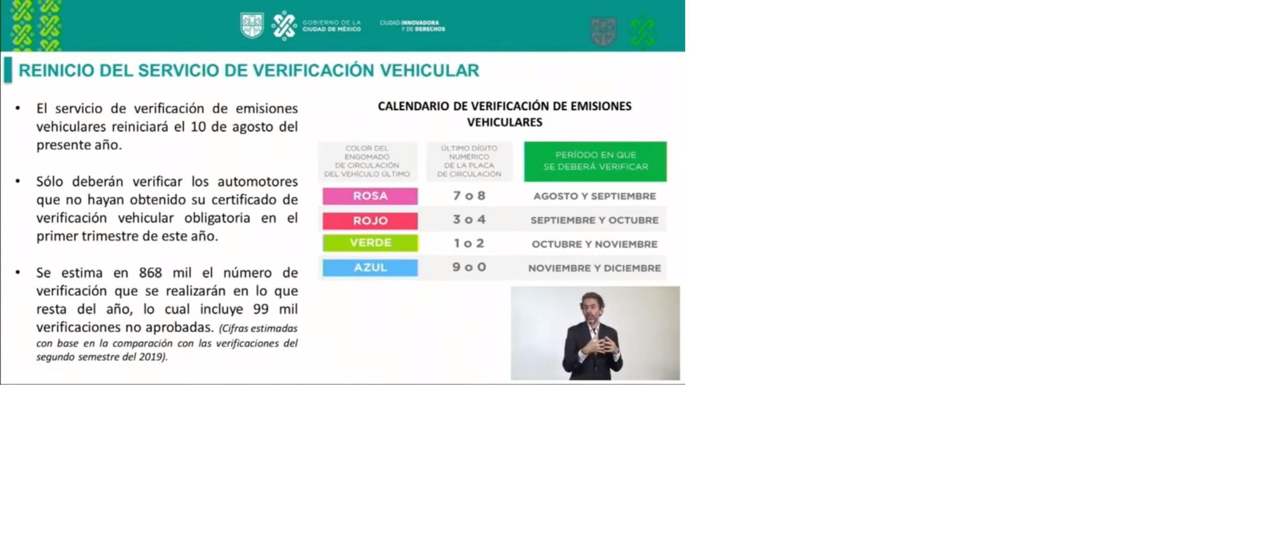 Verificación vehicular reiniciará el próximo 10 de agosto