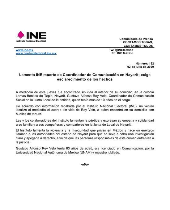 Lamenta INE muerte de Coordinador de Comunicación en Nayarit; exige esclarecimiento de los hechos