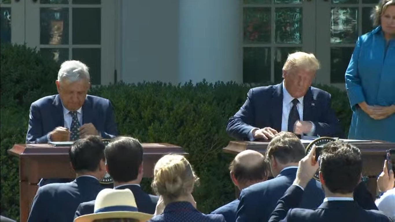 AMLO y Donald Trump firman acuerdo del Tratado de Libre Comercio