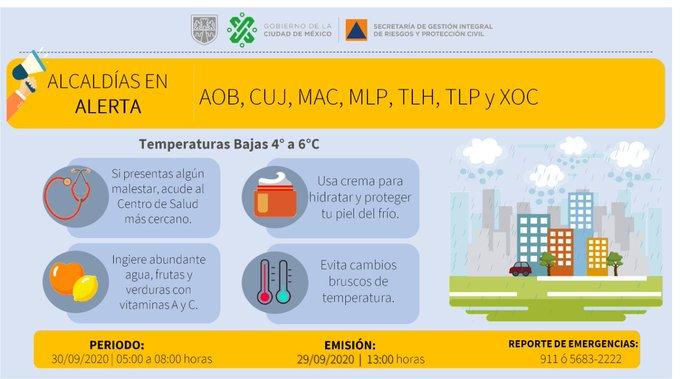 Se activa alerta amarilla en 7 alcaldías por bajas temperaturas