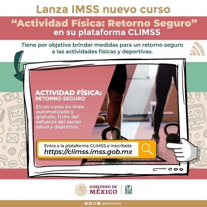 """Lanza Seguro Social nuevo curso """"Actividad Física: Retorno Seguro"""" en su plataforma CLIMSS"""