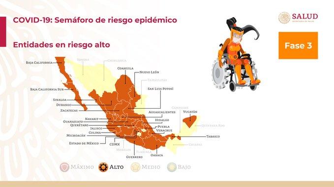 Semáforo Epidemiológico Nacional para la semana del 14 al 20 de septiembre