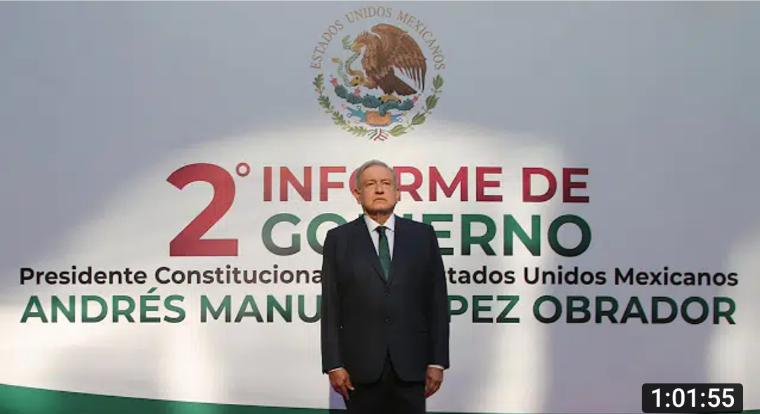 El presidente rinde su Segundo Informe de Gobierno, habla de recuperación económica y disminución en casi todos los delitos.