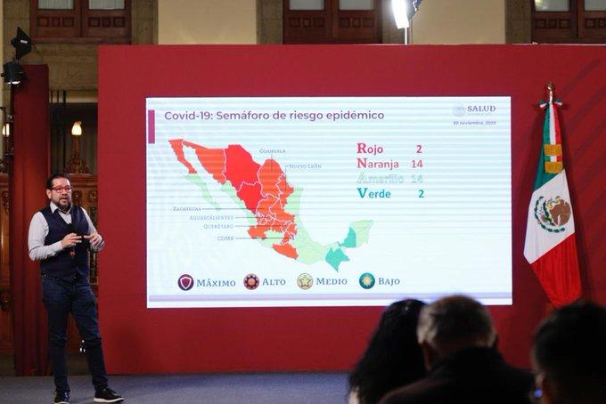 Este será  el semáforo epidemiológico para las siguientes dos semanas, Ciudad de México y 5 entidades más,  cerca de regresar a color rojo.