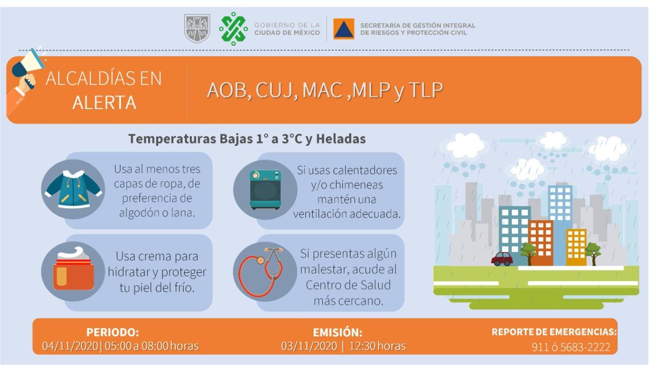 Se activa alerta amarilla y naranja por temperaturas bajas y heladas en la capital del país