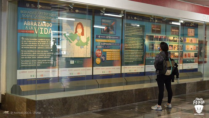 """UNAM exhibe exposición """"Miradas artísticas sobre la pandemia. Abrazando a la vida"""" en metro Pino Suárez"""